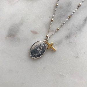 Argento Vivo Jewelry - Argento Vivo Virgin Mary Cross Necklace Silver